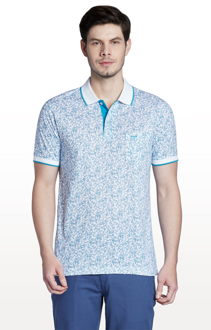 ColorPlus | White Printed Tailored Fit Polo T-Shirt