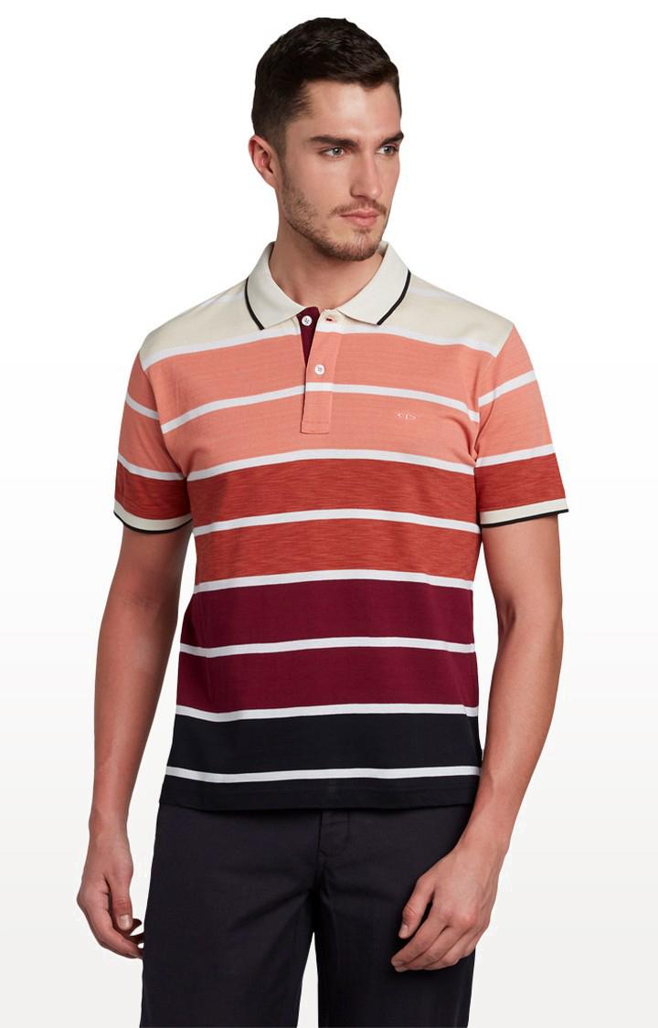 ColorPlus   Medium Orange Striped T-Shirt