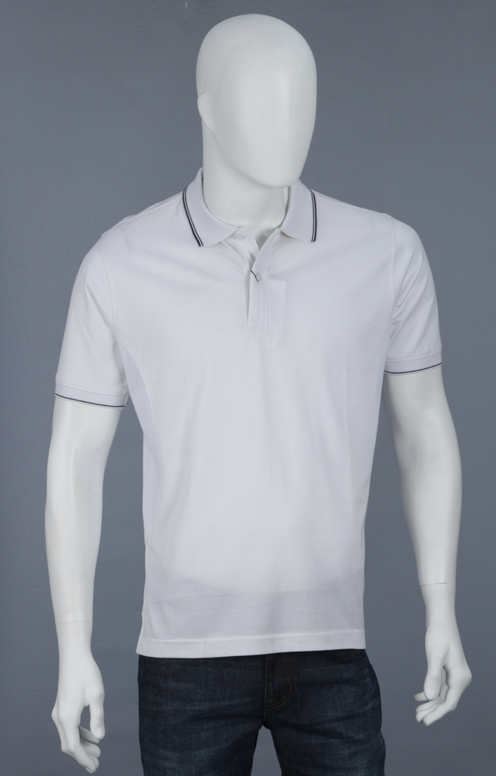 ColorPlus | White Solid Polo T-Shirt