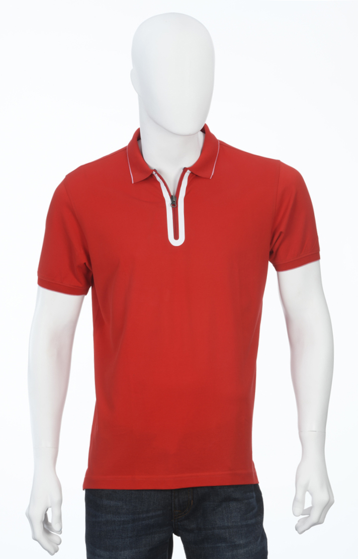 ColorPlus | Red Solid Polo T-Shirt