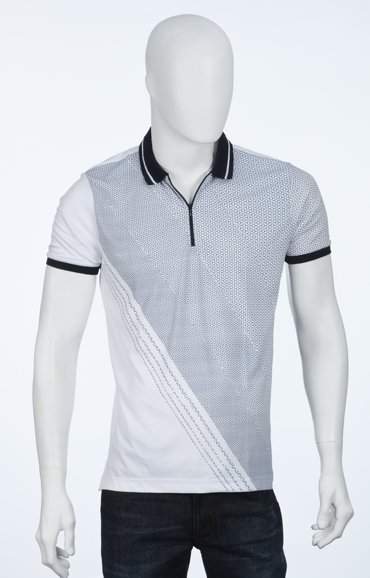 ColorPlus | White and Blue Printed Polo T-Shirt