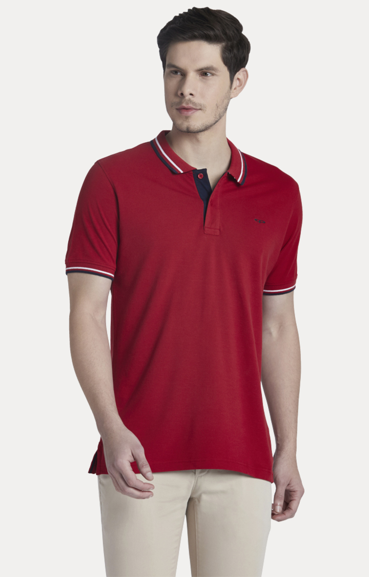 ColorPlus | Dark Red Solid Polo T-Shirt