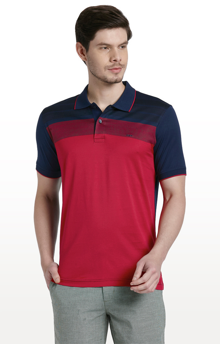 ColorPlus | Red Solid Tailored Fit Polo T-Shirt