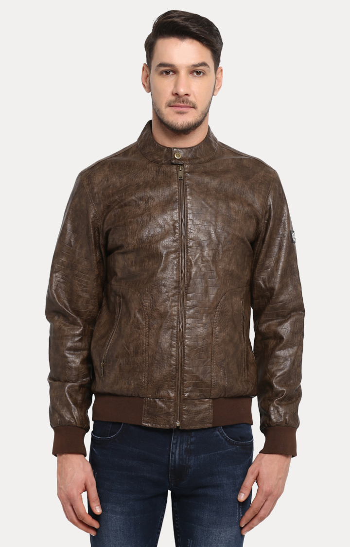 ColorPlus | Brown Solid Leather Jacket