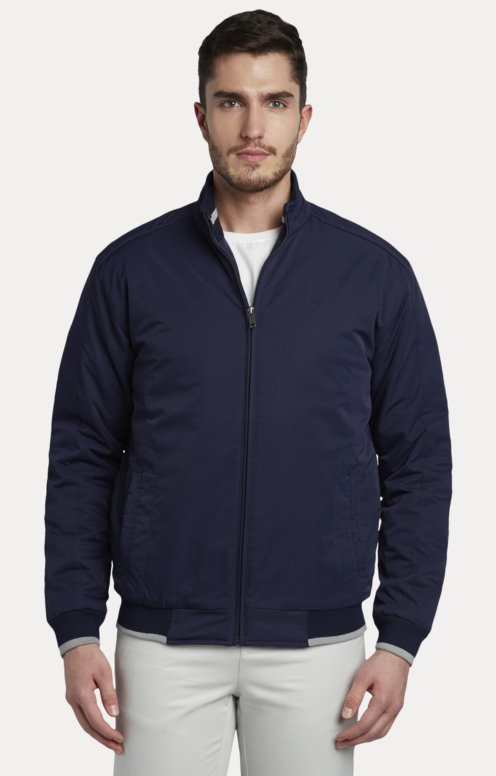 ColorPlus | Navy Solid Bomber Jacket
