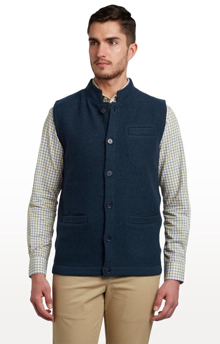 ColorPlus | Dark Blue Solid Ethnic Jacket