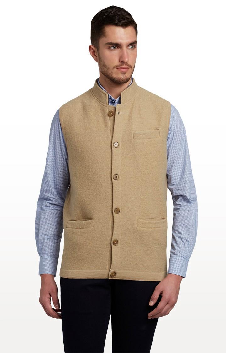 ColorPlus | Medium Beige Solid Ethnic Jacket