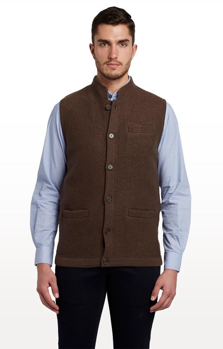 ColorPlus   Brown Solid Ethnic Jacket