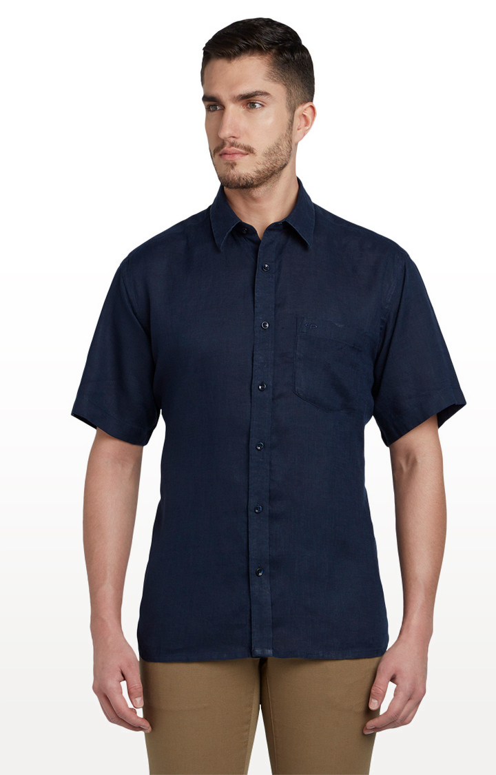 ColorPlus   Blue Solid Classic Fit Casual Shirt