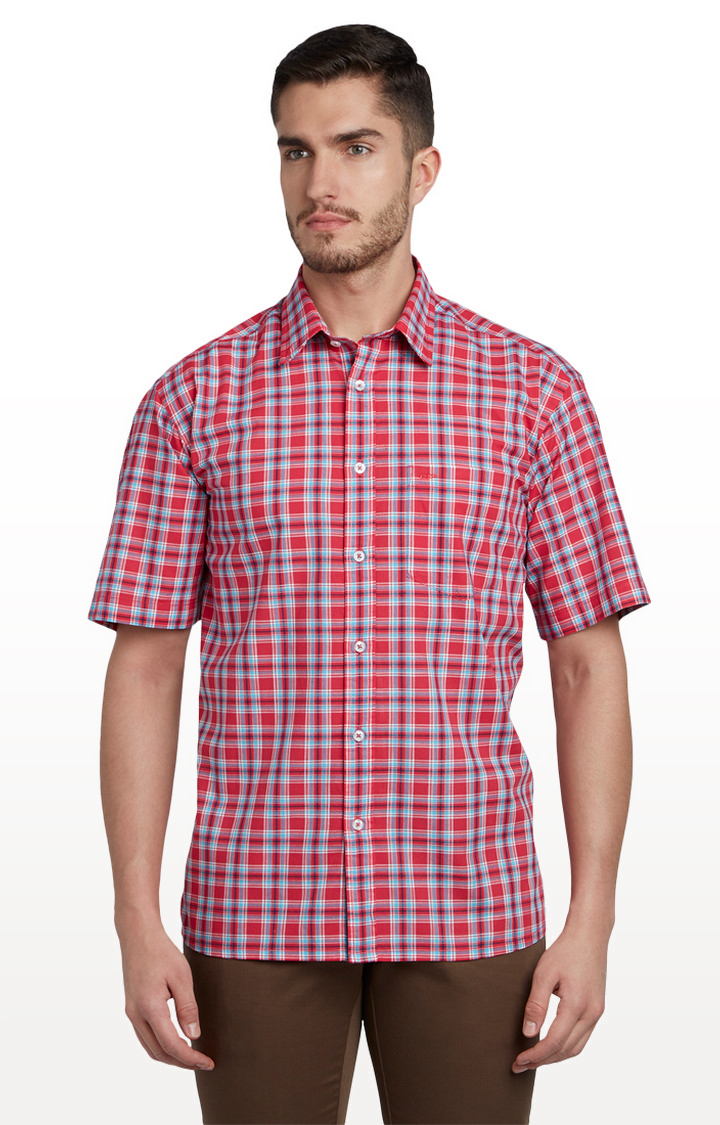 ColorPlus | Red Checked Classic Fit Casual Shirt