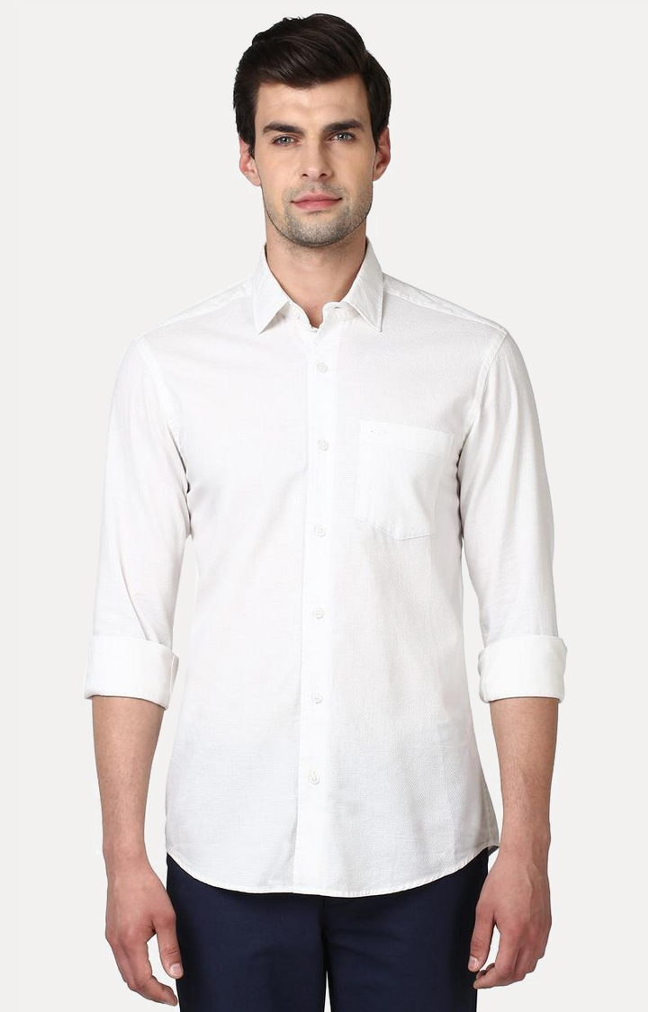 ColorPlus   White Solid Casual Shirt