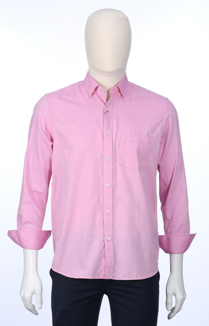 ColorPlus   Pink Melange Casual Shirt