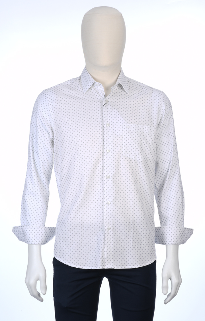 ColorPlus   White Printed Casual Shirt