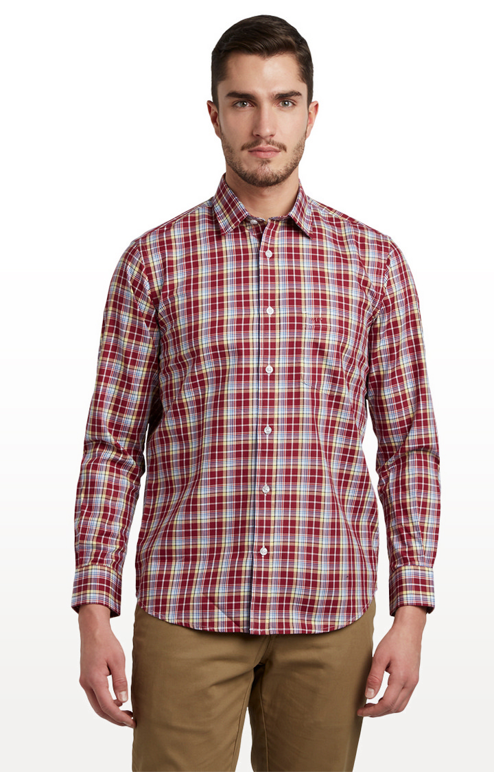 ColorPlus | Red Checked Tailored Fit Casual Shirt