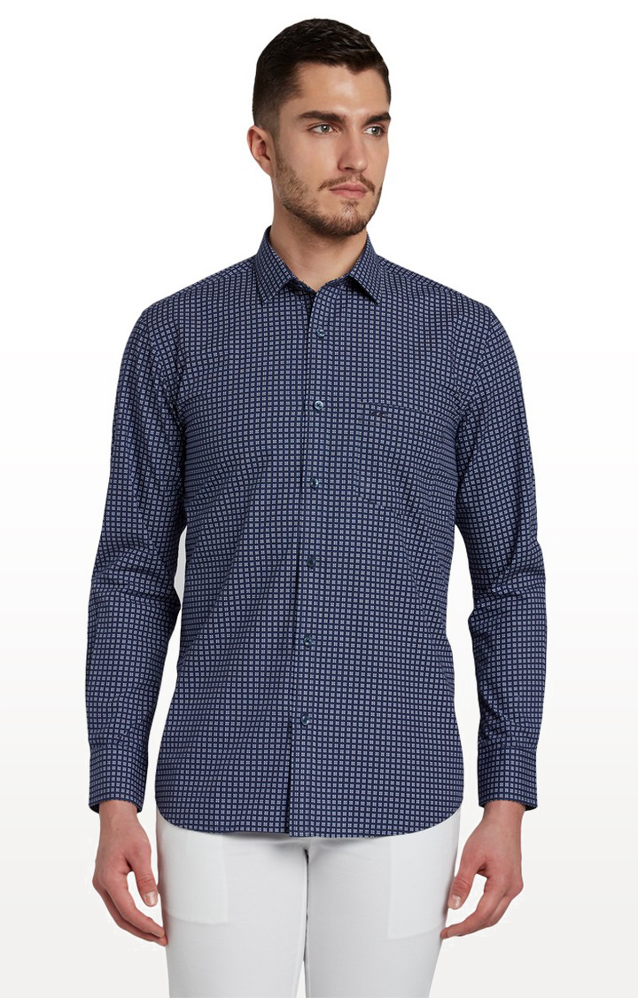 ColorPlus | Navy Checked Formal Shirt