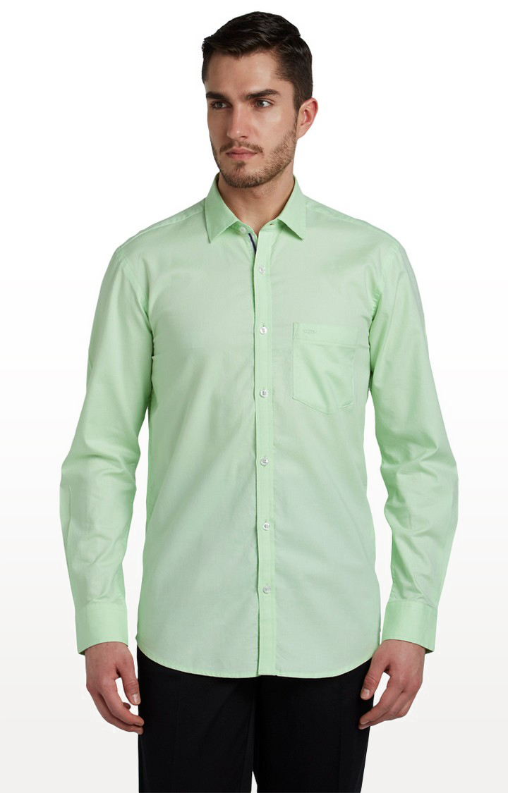 ColorPlus | Light Green Solid Formal Shirt