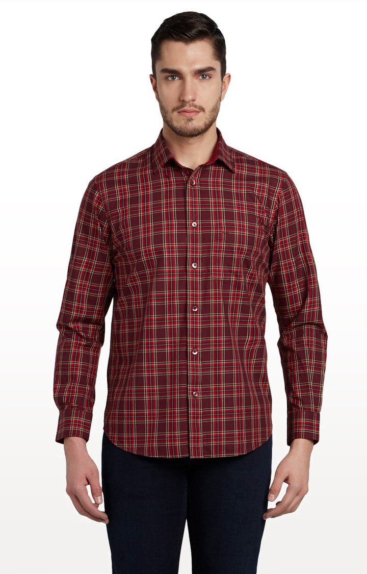 ColorPlus | Dark Red Checked Casual Shirt
