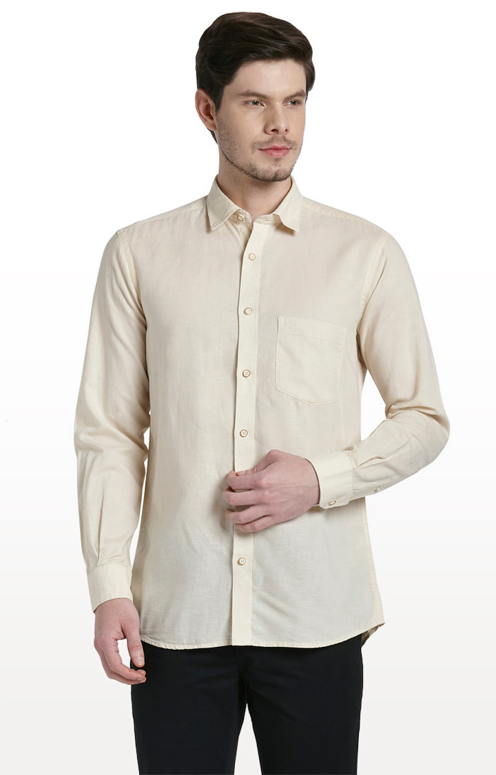 ColorPlus   Beige Solid Tailored Fit Casual Shirt