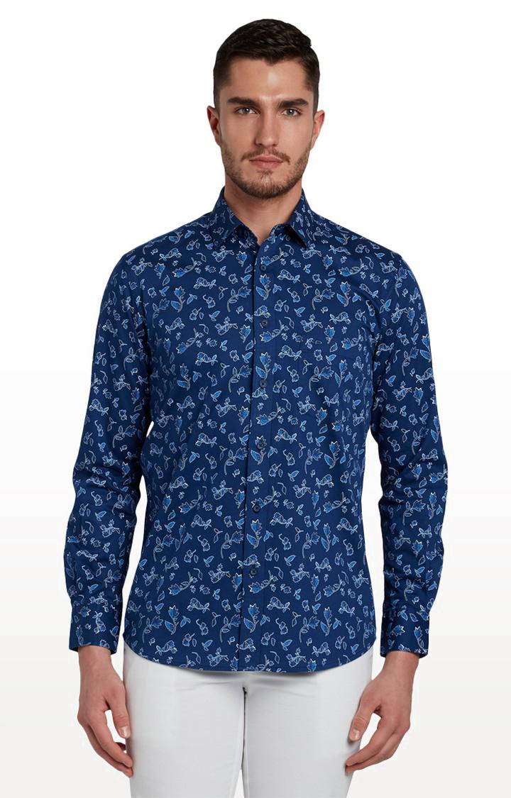 ColorPlus | Dark Blue Printed Casual Shirt