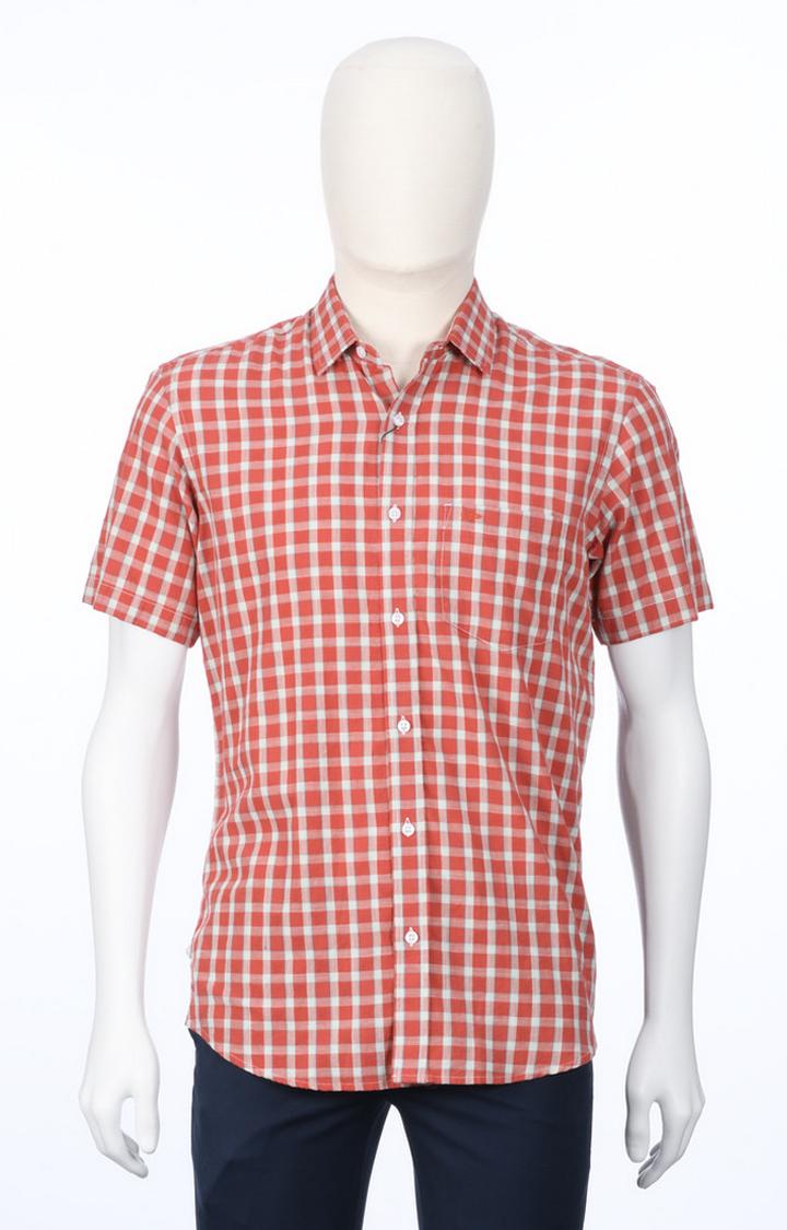ColorPlus   Orange Checked Casual Shirt