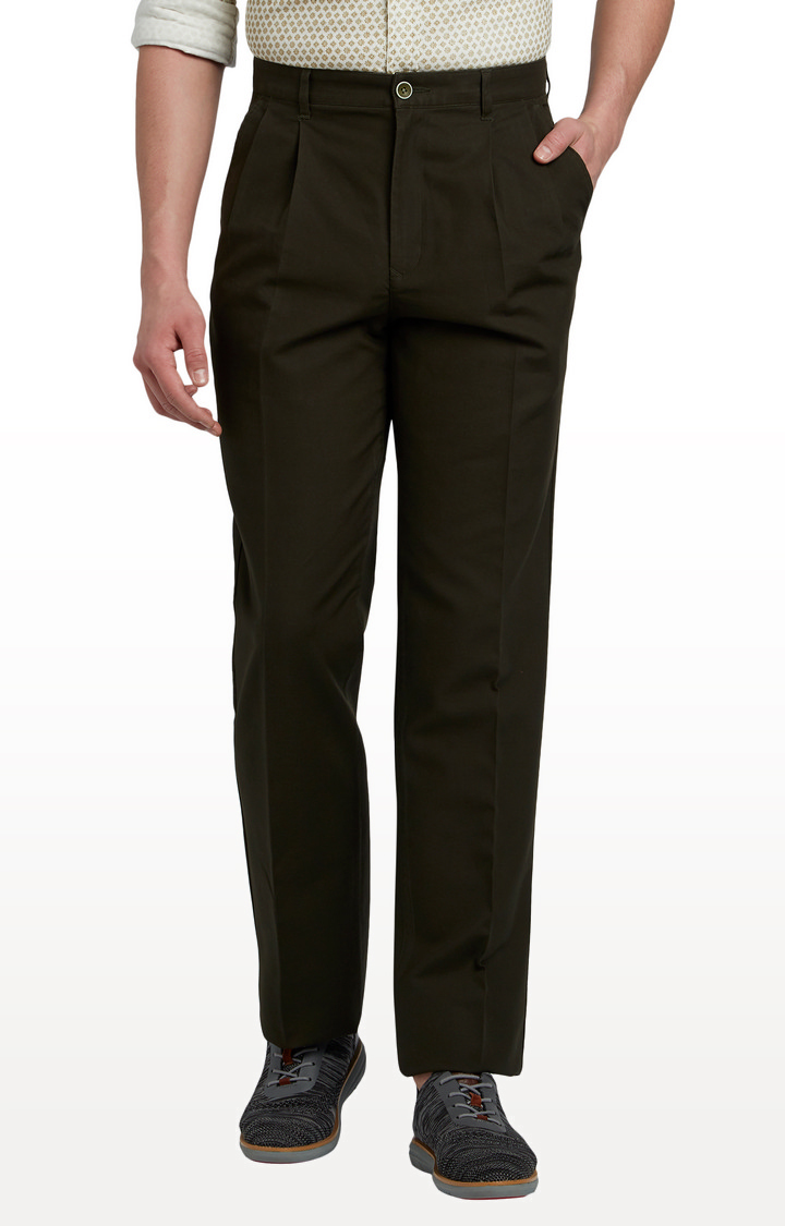 ColorPlus   Dark Green Pleated Formal Trousers