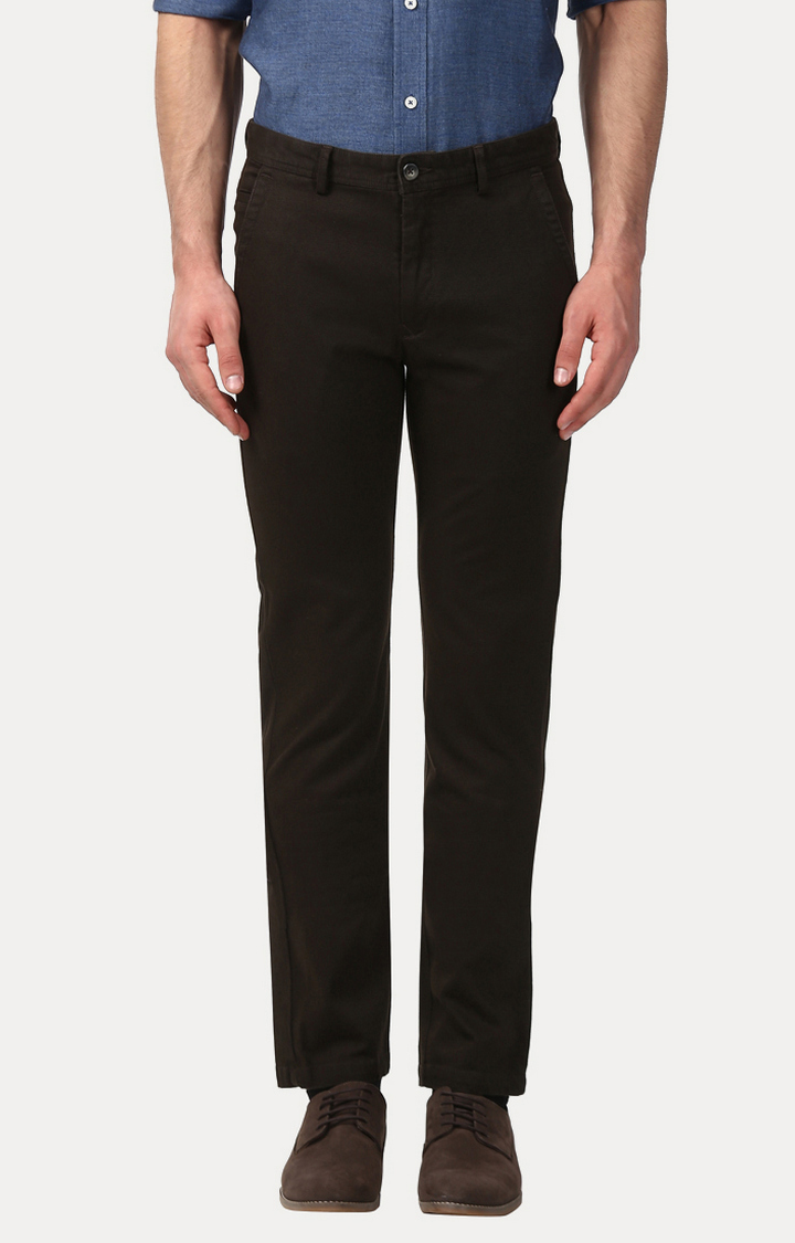 ColorPlus   Brown Solid Straight Chinos