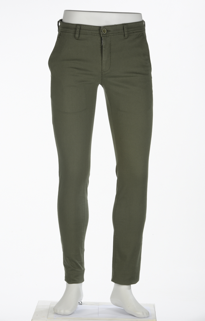 ColorPlus   Green Solid Straight Chinos