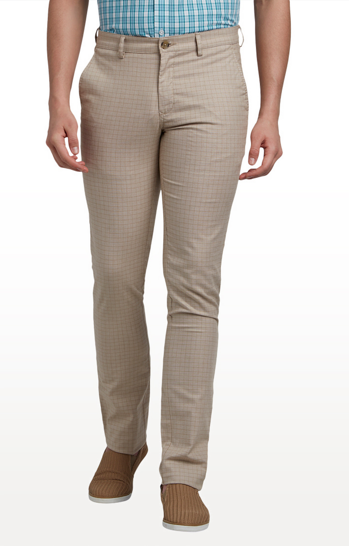 ColorPlus   Beige Contemporary Fit Flat Front Formal Trousers