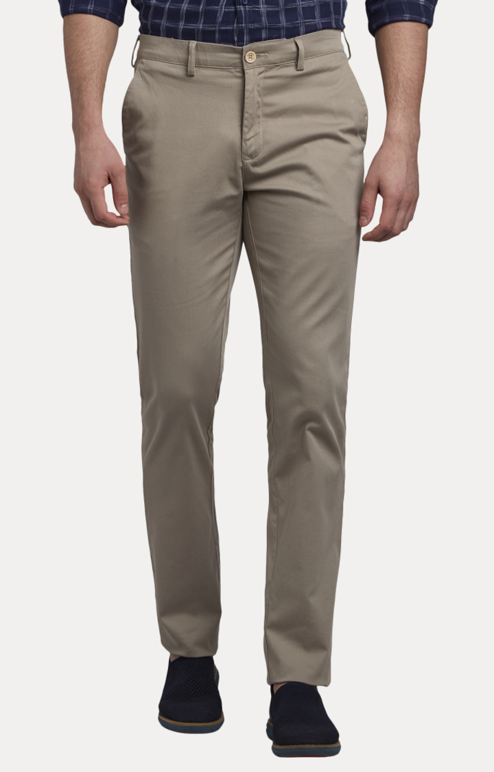 Grey Flat Front Formal Trousers