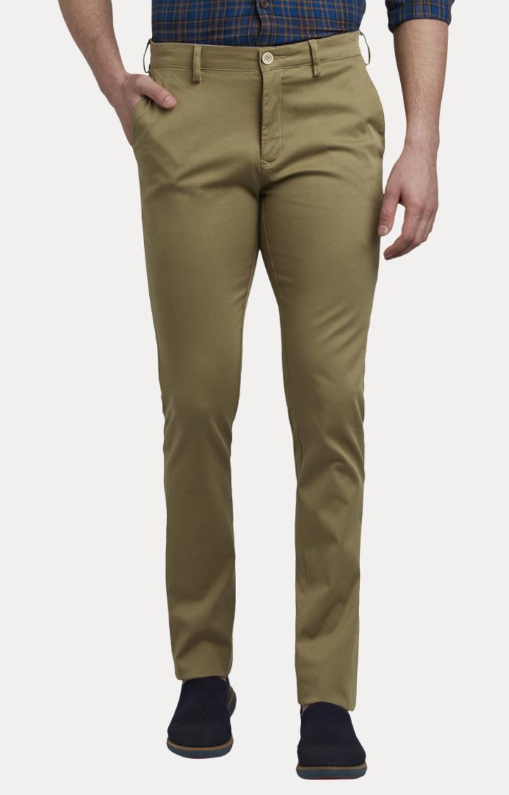 Khaki Flat Front Formal Trousers