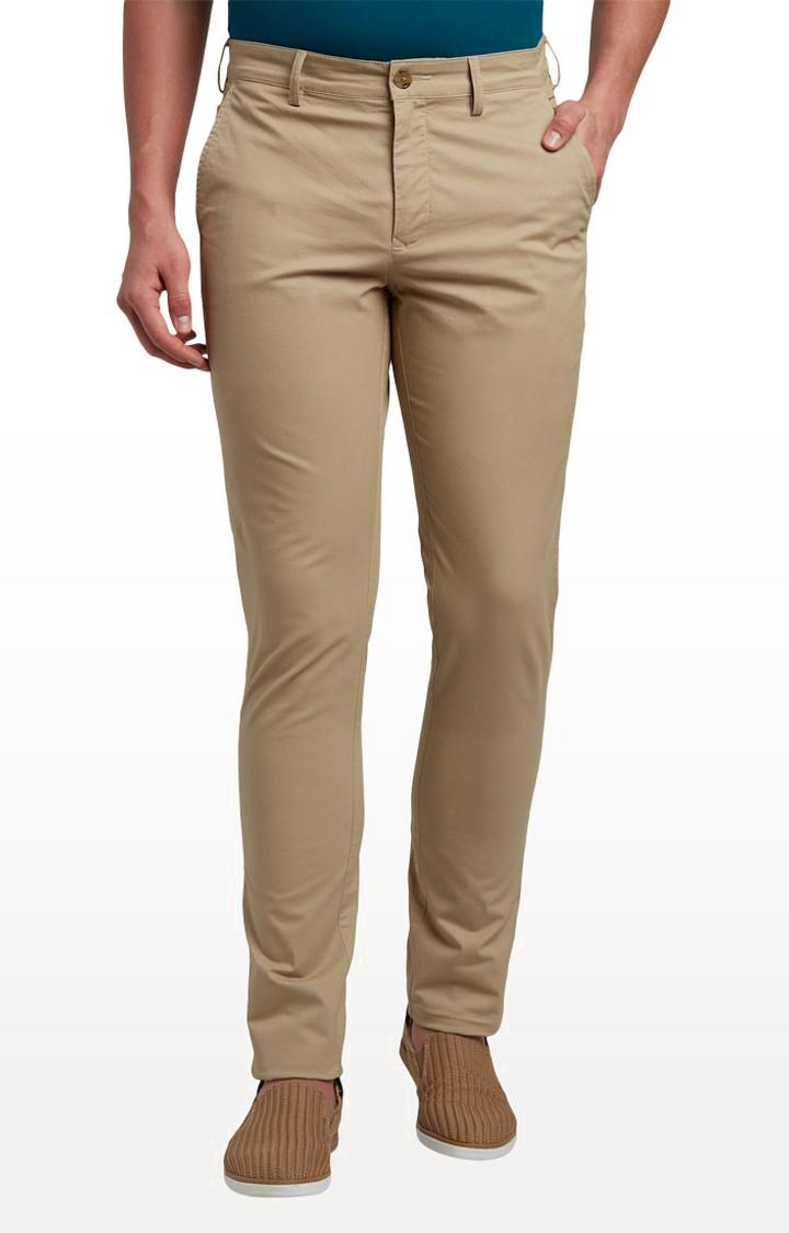 ColorPlus | Medium Khaki Flat Front Formal Trousers