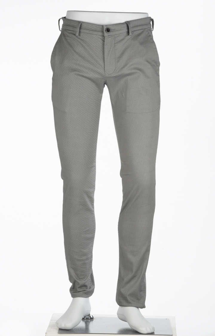 ColorPlus | Grey Solid Straight Chinos