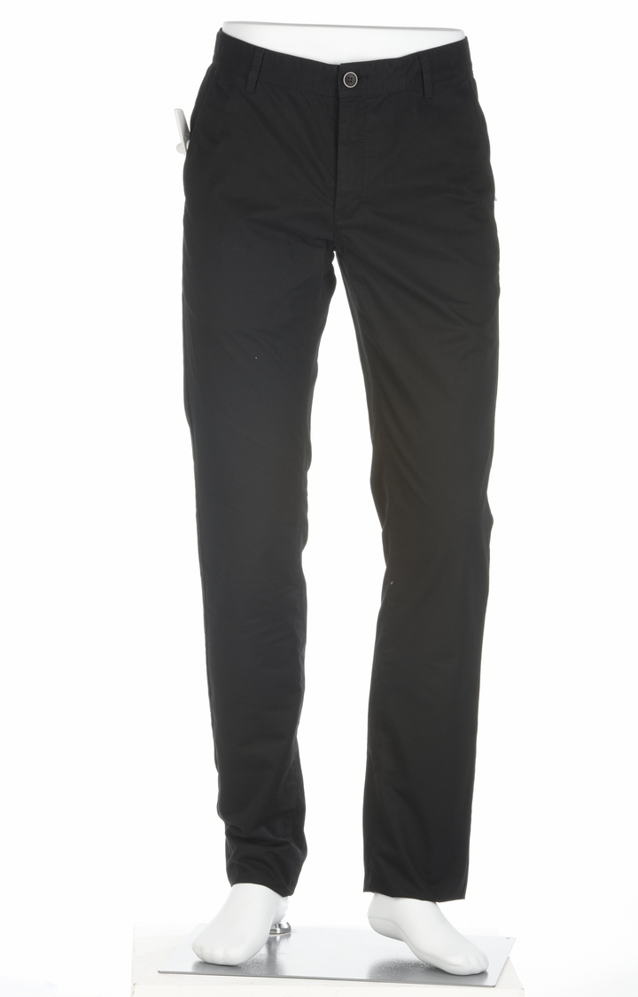 ColorPlus | Black Solid Flat Front Formal Trousers