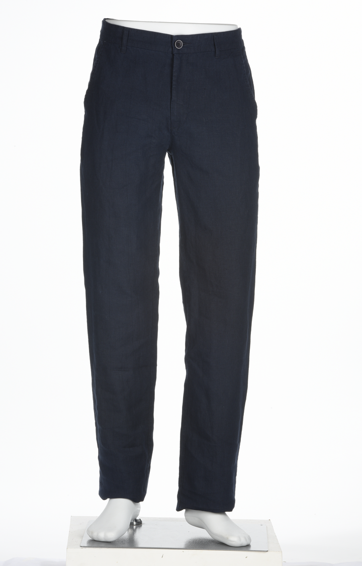 ColorPlus | Navy Solid Flat Front Formal Trousers