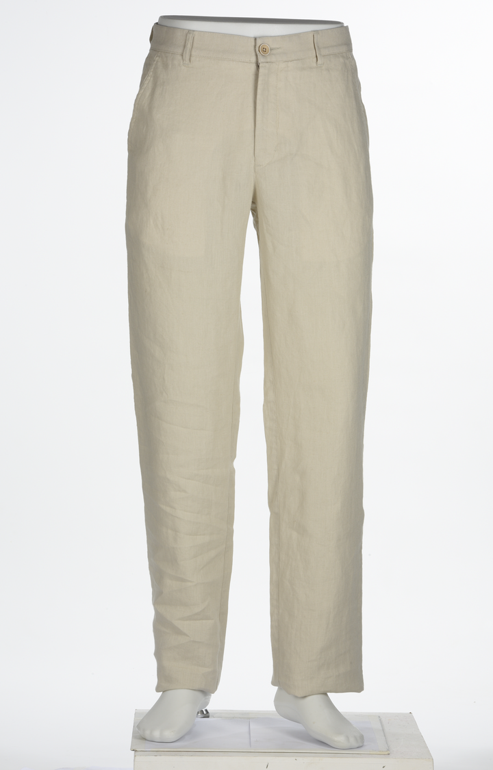 ColorPlus | Fawn Melange Flat Front Formal Trousers
