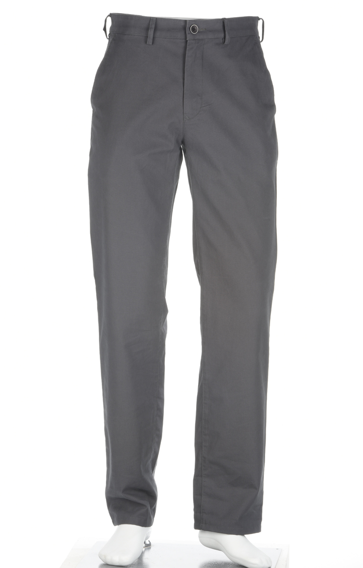 ColorPlus   Dark Grey Solid Flat Front Formal Trousers