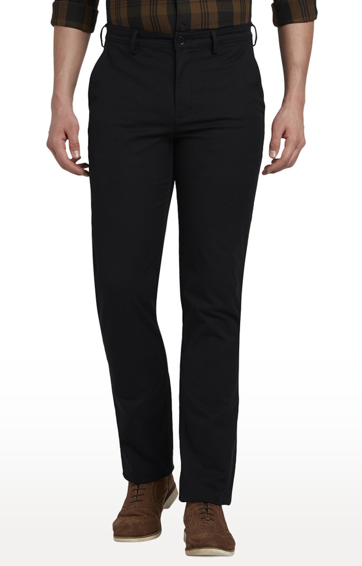 ColorPlus | Black Flat Front Formal Trousers