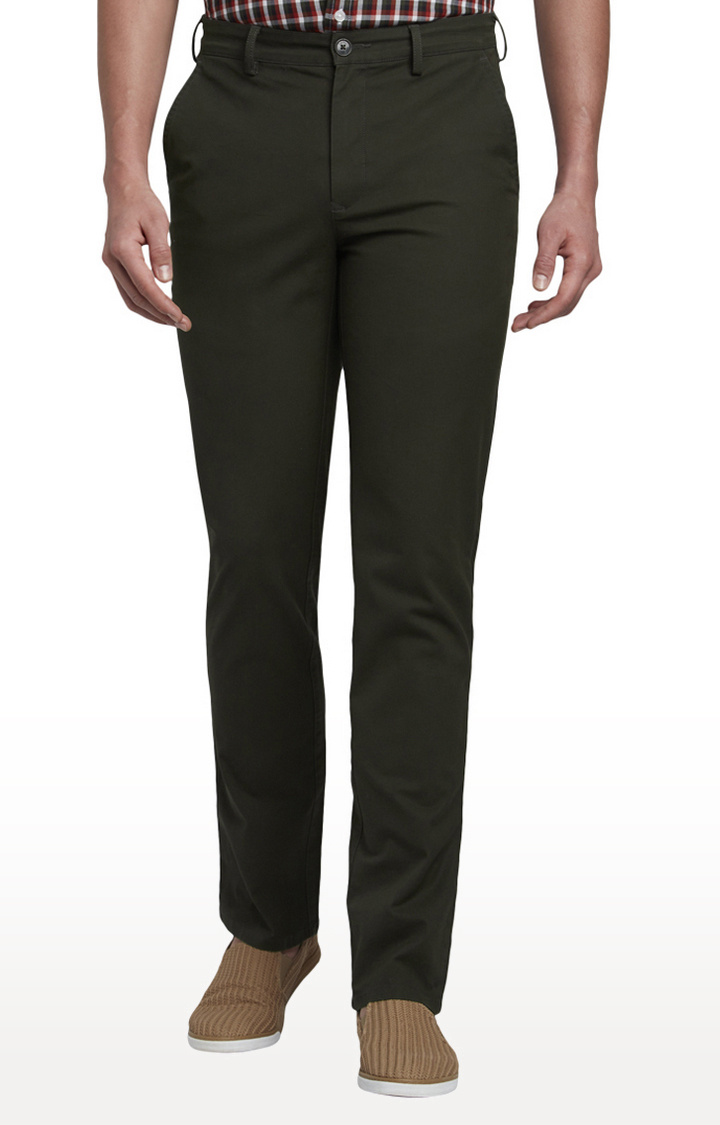 Dark Green Flat Front Formal Trousers