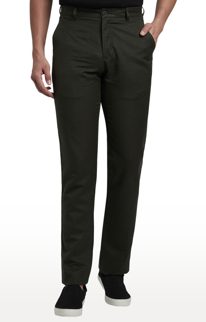 ColorPlus   Dark Green Flat Front Formal Trousers