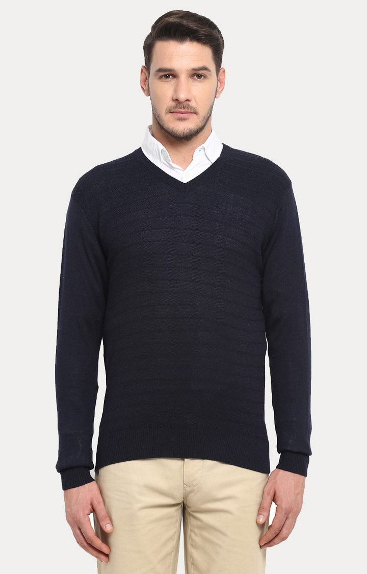 ColorPlus | Navy Blue Solid Sweater