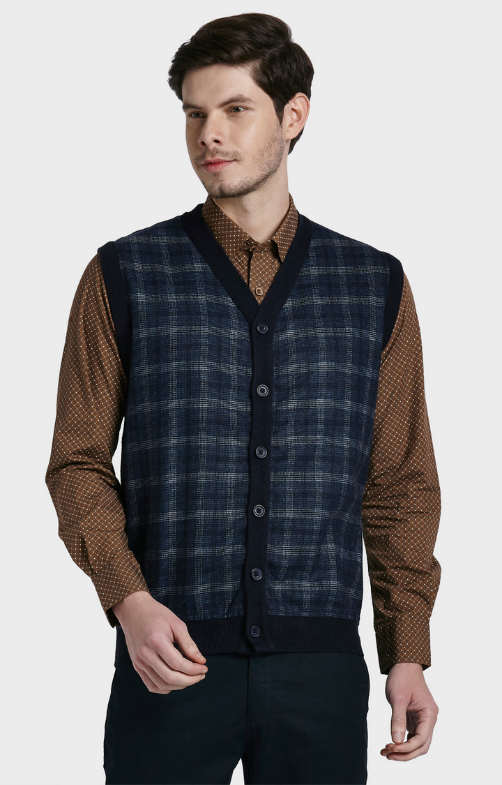 ColorPlus | Navy Checked Sweater