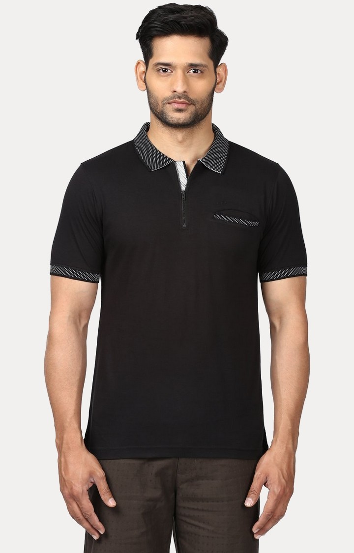 ColorPlus | Black Solid Polo T-Shirt