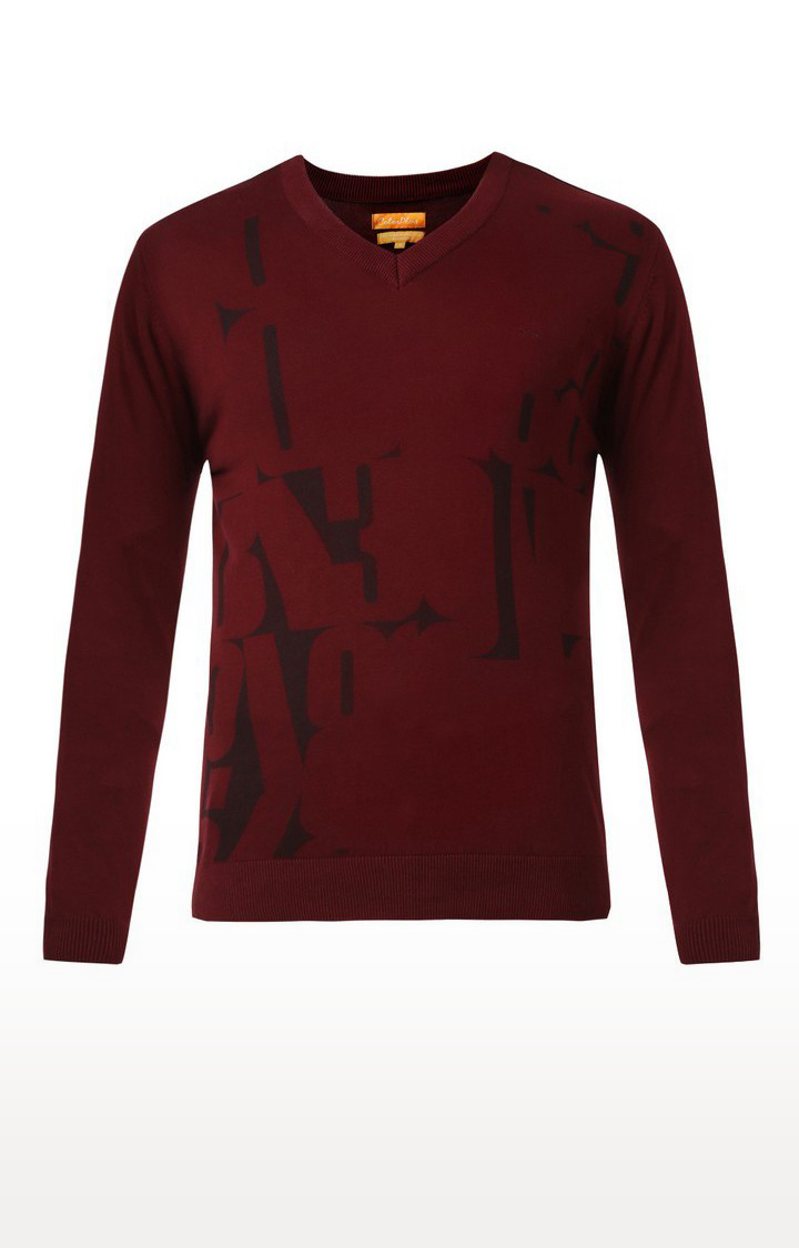 ColorPlus   Maroon Printed Sweatshirt