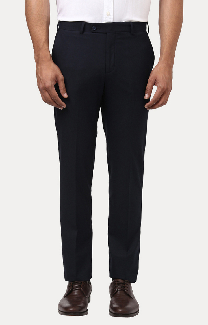 ColorPlus   Navy Solid Flat Front Formal Trousers