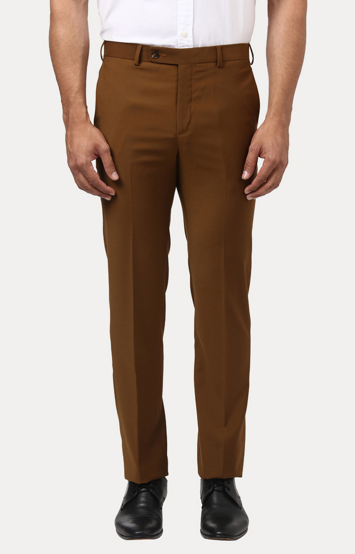 ColorPlus | Brown Solid Flat Front Formal Trousers