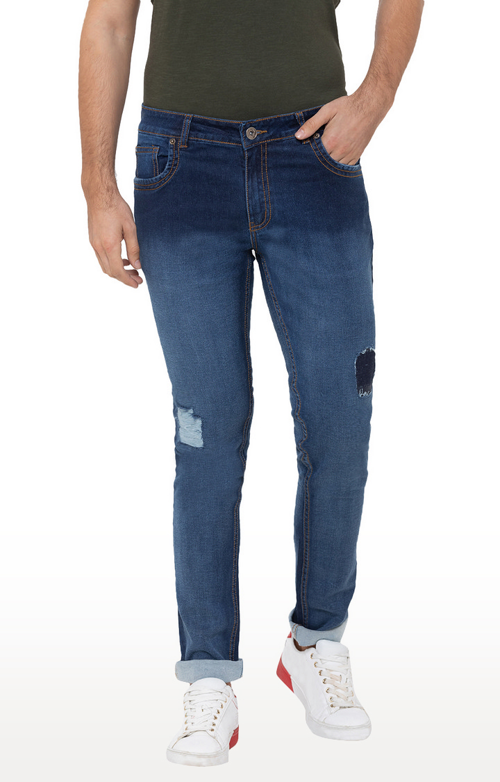 globus | Blue Ripped Tapered Jeans