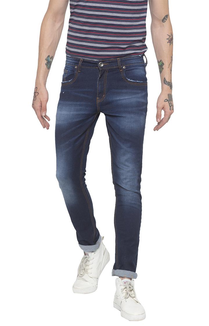 globus   Blue Solid Slim Fit Jeans