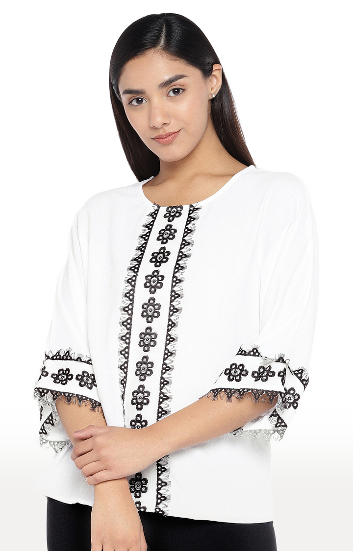 globus   Black and White Embroidered Top