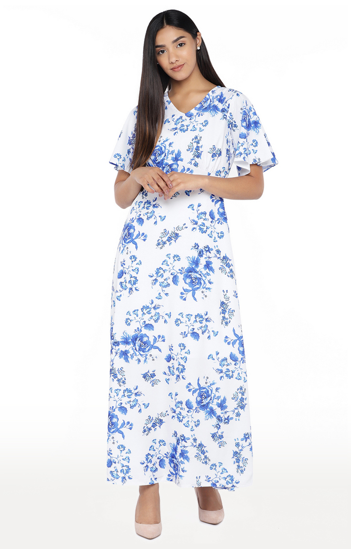 globus   White Floral Maxi Dress