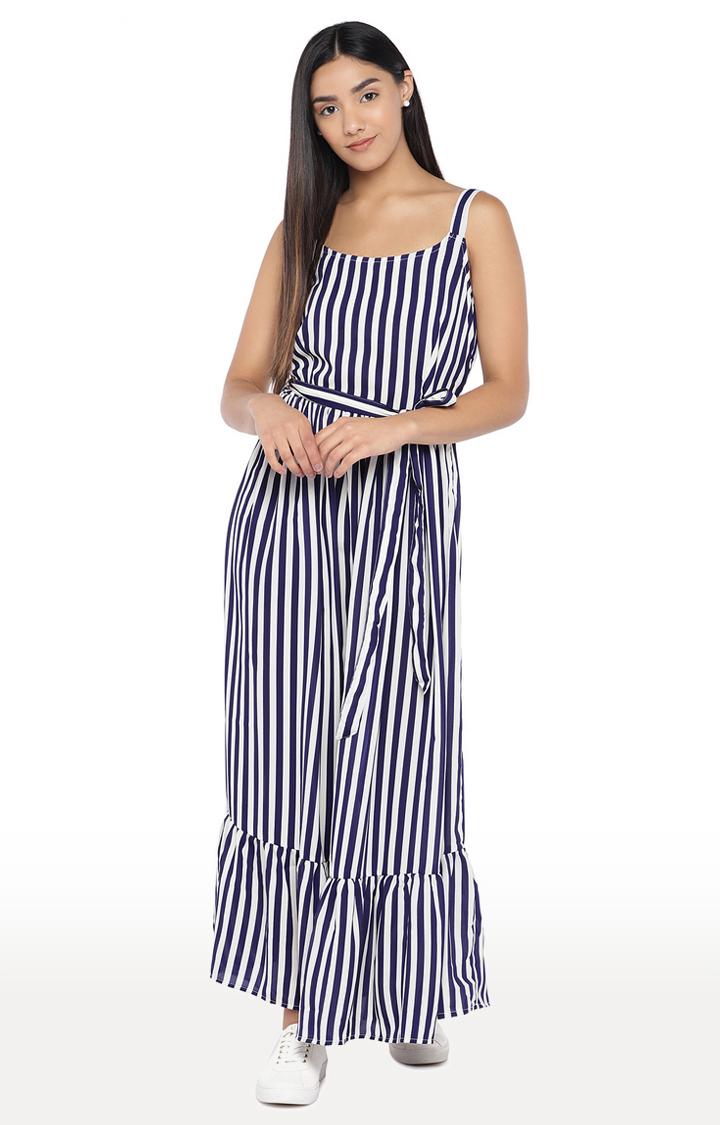 globus   White and Navy Striped Maxi Dress